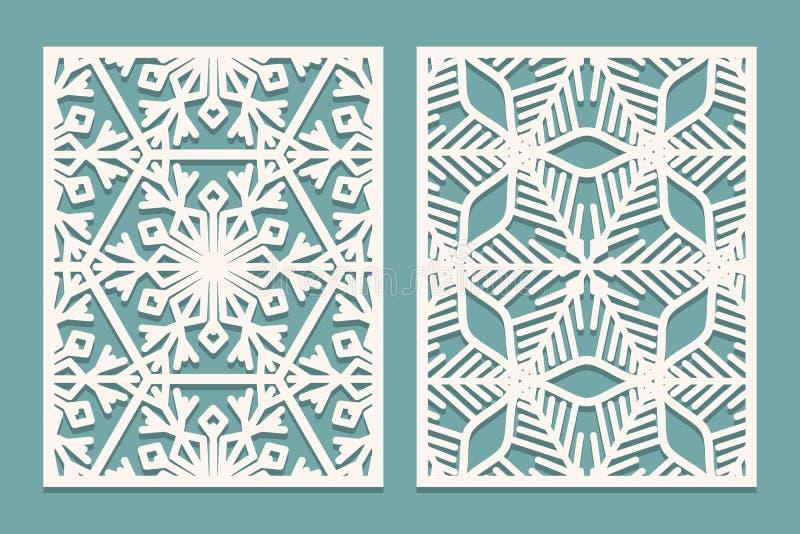 Dö och laser klippta dekorativa paneler med snöflingamodellen Att klippa för laser som är dekorativt, snör åt gränsmodeller Uppsä stock illustrationer