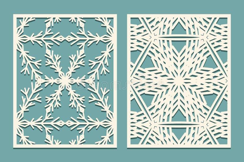 Dö och laser klippta dekorativa paneler med snöflingamodellen Att klippa för laser som är utsmyckat, snör åt gränsmodeller Uppsät stock illustrationer
