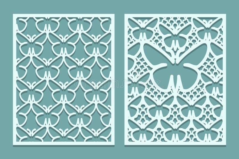 Dö, och laser klippta dekorativa snör åt panelmodeller med fjärilar Uppsättning av bokmärkemallar Kabinett lövsågsarbetepanel Las royaltyfri illustrationer