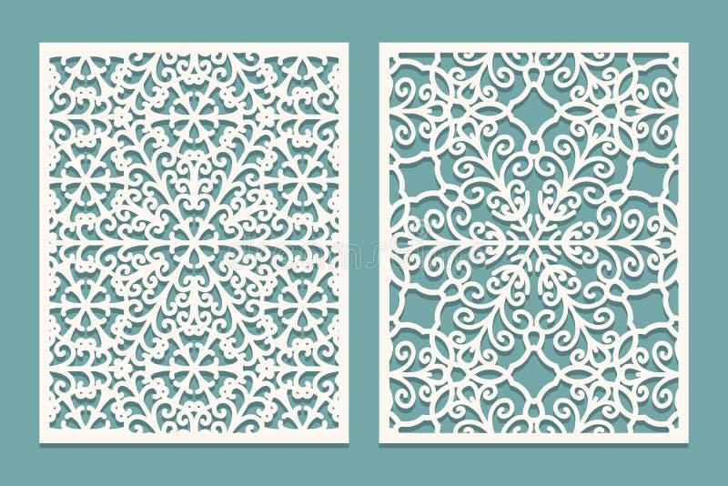 Dö och laser klippta scenical paneler med snöflingamodellen Att klippa för laser som är dekorativt, snör åt gränsmodeller Uppsätt stock illustrationer