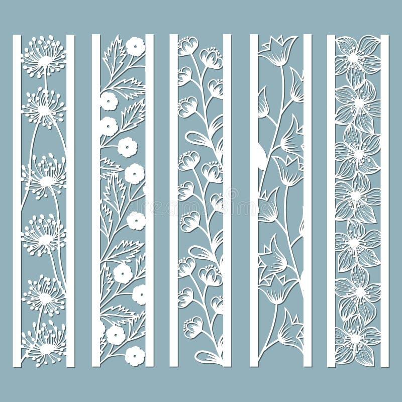Dö, och laser klippte dekorativa paneler med den blom- modellen klocka, maskros, orkidé, blommor och sidor Laser klippte dekorati stock illustrationer
