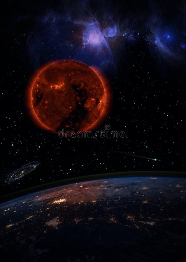 Dö solen över den mörka planetjorden arkivbilder