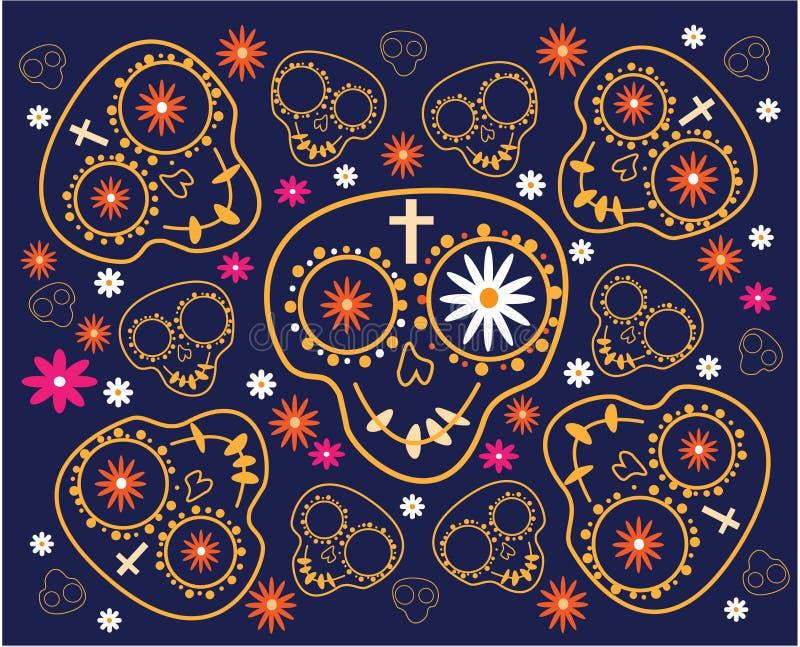 död dag Sömlös modell med sockerskallar och blommor på blå bakgrund stock illustrationer