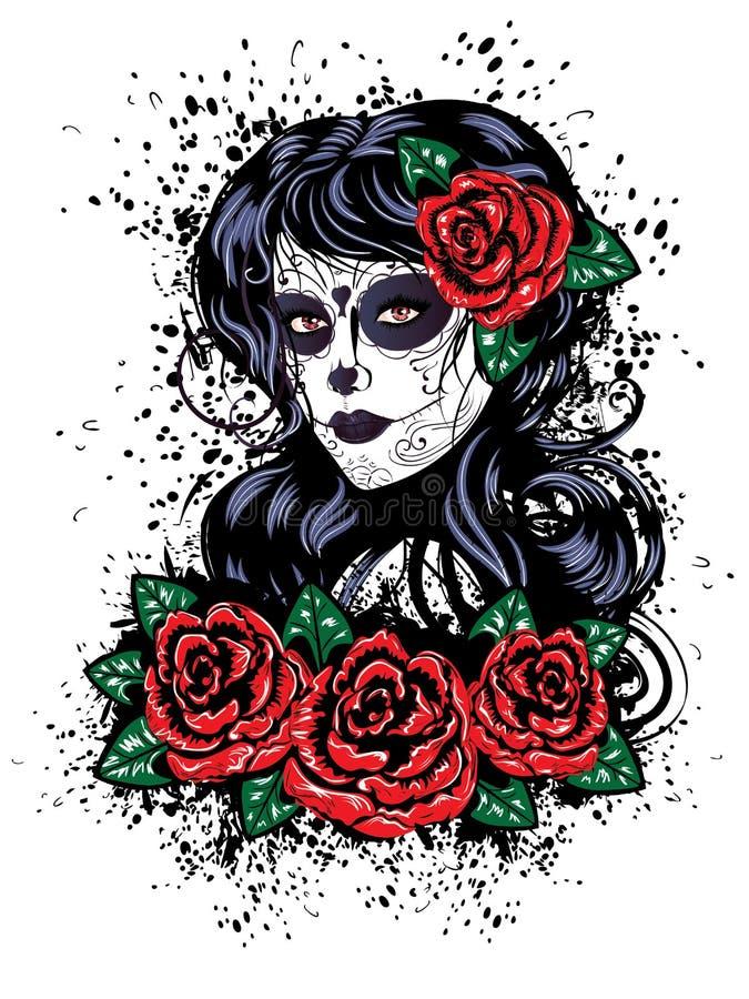 död flicka för dag stock illustrationer