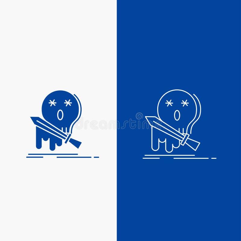 Död, frag, lek, byte, knapp för svärdlinje- och skårarengöringsduk i det vertikala banret för blå färg för UI och UX, website ell vektor illustrationer