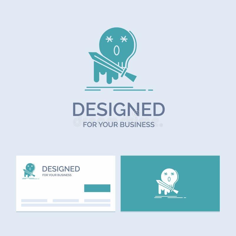 Död frag, lek, byte, svärdaffär Logo Glyph Icon Symbol för din affär Turkosaff?rskort med m?rkeslogo royaltyfri illustrationer