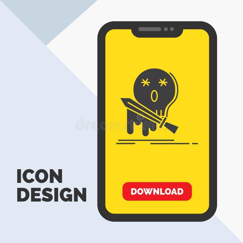 Död frag, lek, byte, svärdskårasymbol i mobilen för nedladdningsida Gul bakgrund vektor illustrationer