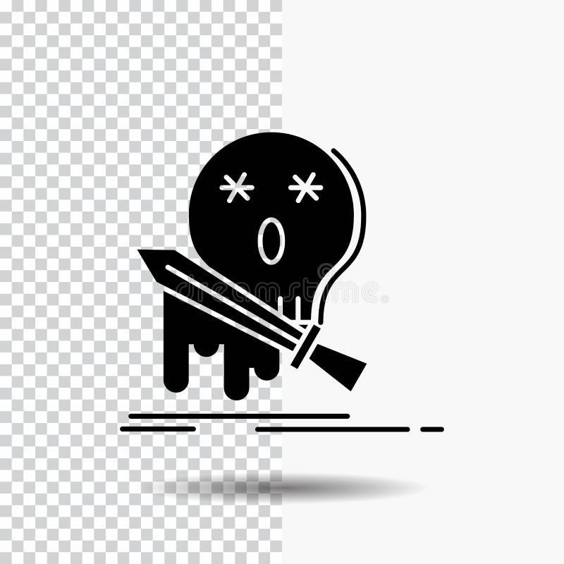 Död frag, lek, byte, svärdskårasymbol på genomskinlig bakgrund Svart symbol vektor illustrationer