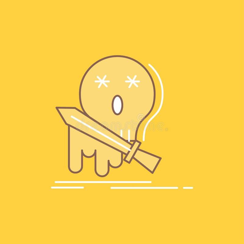 Död frag, leken, bytet, plan linje för svärd fyllde symbolen r vektor illustrationer