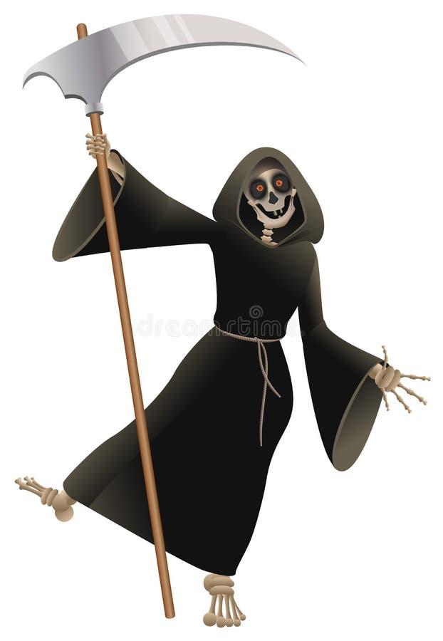 Död i svart kappa med allhelgonaafton för liedansparti royaltyfri illustrationer