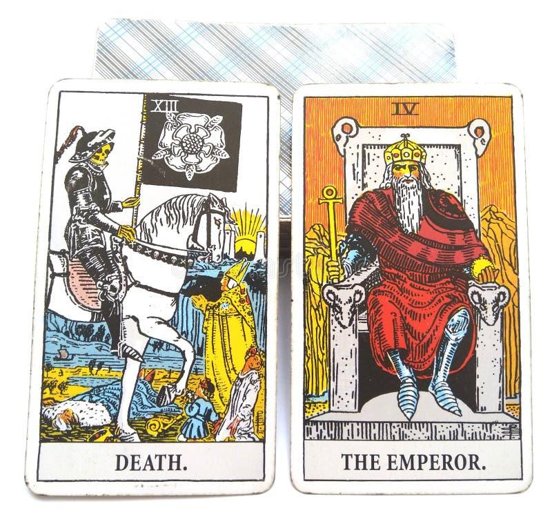 Död/kejsare för tarokfödelsekort royaltyfri illustrationer
