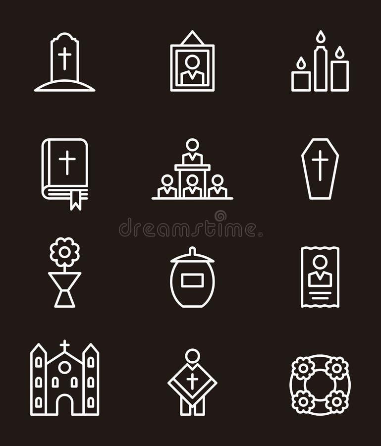 Död- och begravningsymbolsuppsättning royaltyfri illustrationer