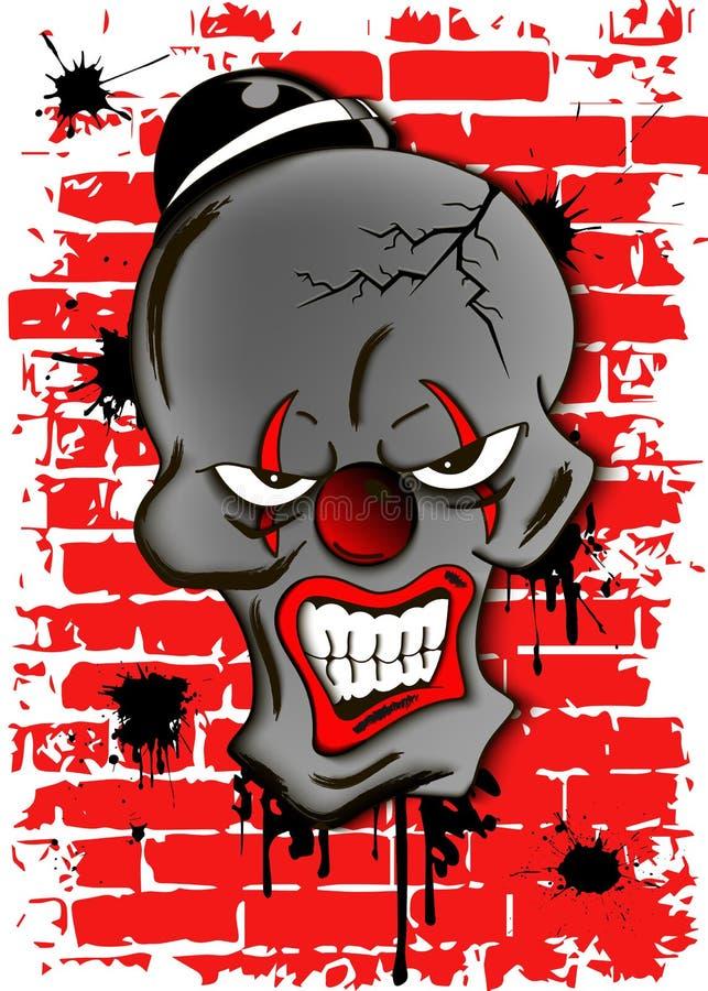 Död ond clown royaltyfri illustrationer