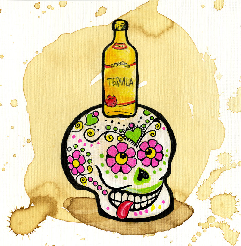 död skalle för färgrik dag stock illustrationer