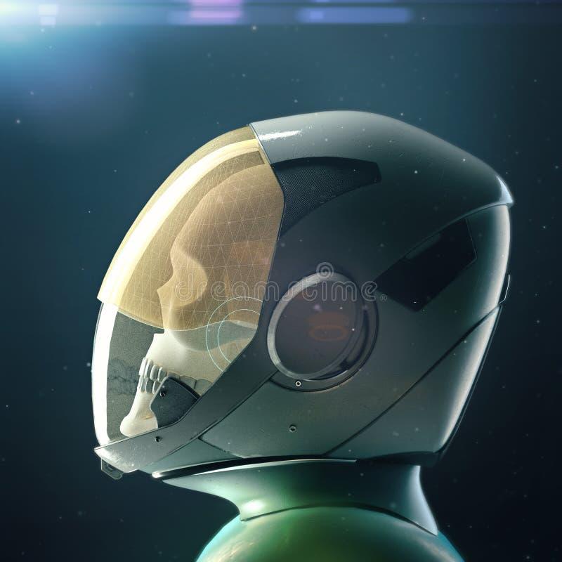 Död skalleastronaut i spacesuit och hjälm På mörk bakgrund med stjärnor och signalljus framför 3d stock illustrationer