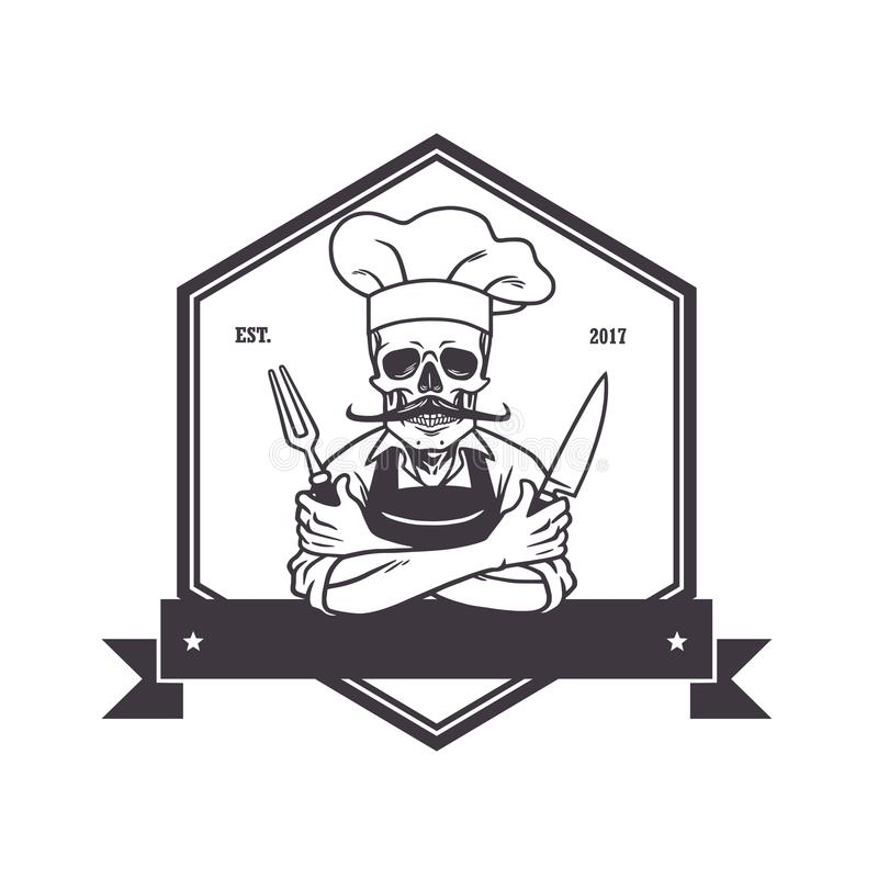Död skallekock Grinning med för, Knive och hatt Restauranglogomall Sexhörningsvektorteckning royaltyfri illustrationer