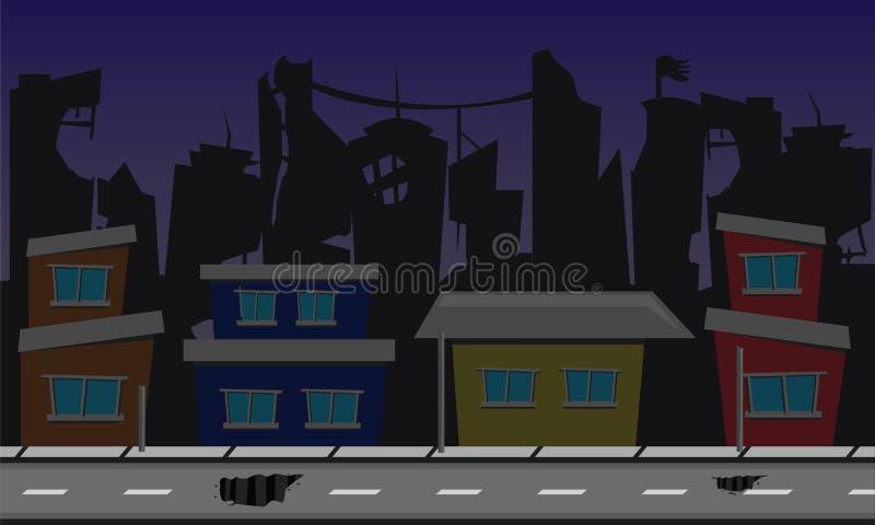 Död stadsbakgrundsdesign stock illustrationer
