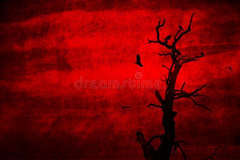 Död tree med perched galanden och flyg royaltyfri bild