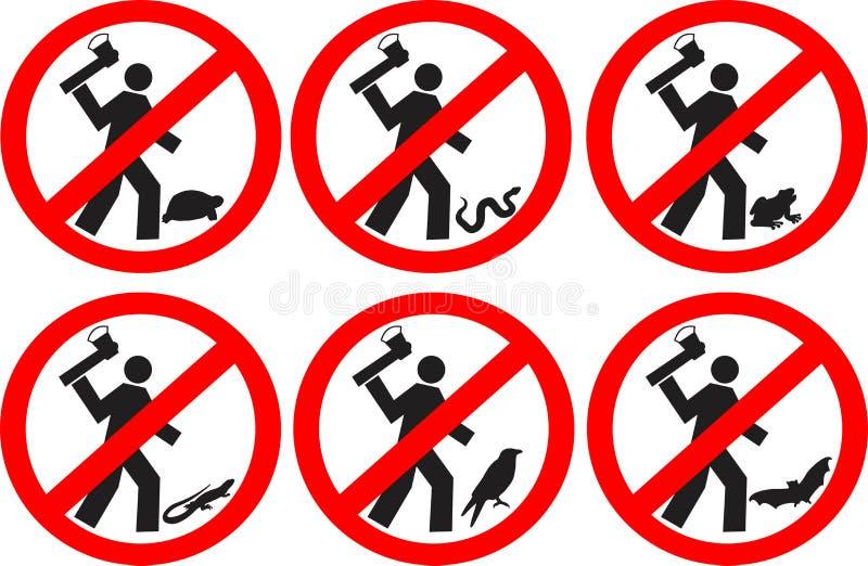Döda inte djur royaltyfri illustrationer