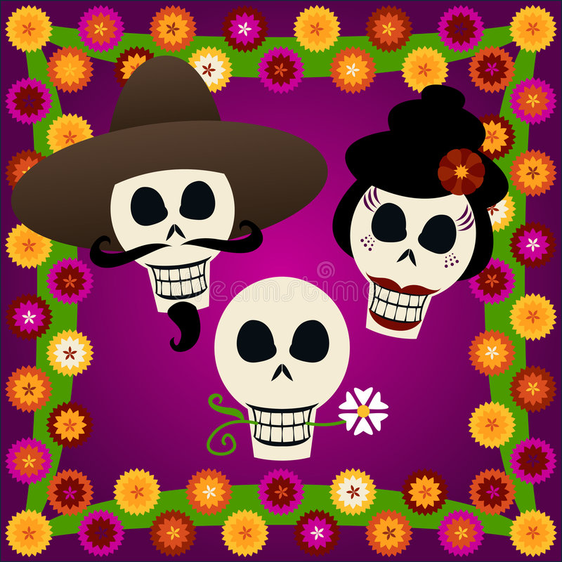 döda skallar för dag stock illustrationer