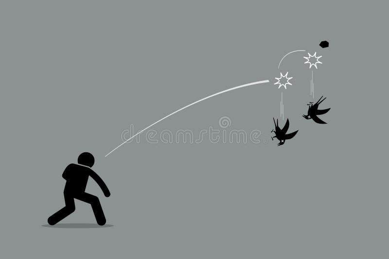 Döda två fåglar med en sten stock illustrationer
