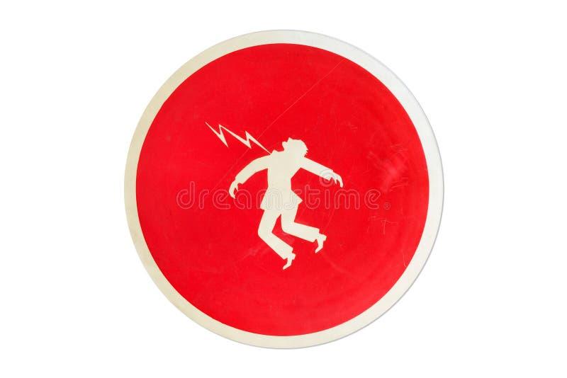 Dödande med elektrisk strömbegrepp Högt spänningstecken som isoleras på vit bakgrund arkivfoto