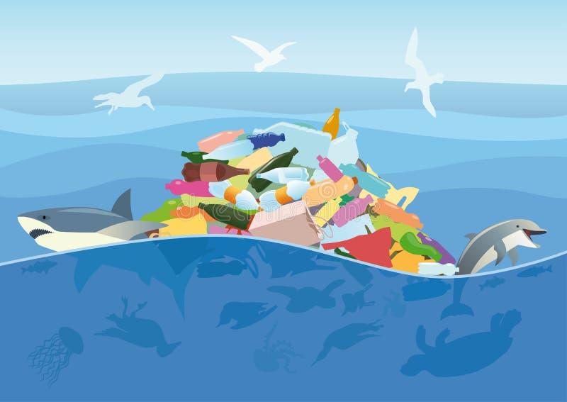 Dödlighet av marin- djur och fåglar av plast- avfall royaltyfri illustrationer