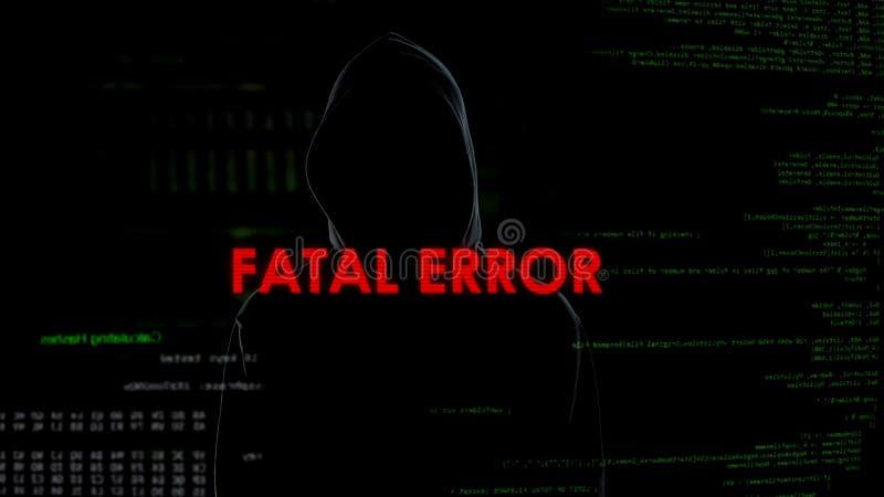 Dödligt fel, mislyckat hacka försök på serveren som är brottslig på kodbakgrund fotografering för bildbyråer
