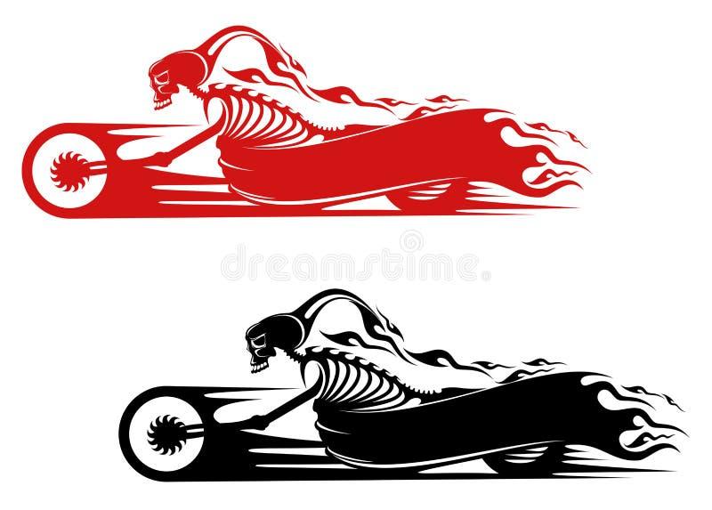 Dödmonster på motorcykeln stock illustrationer
