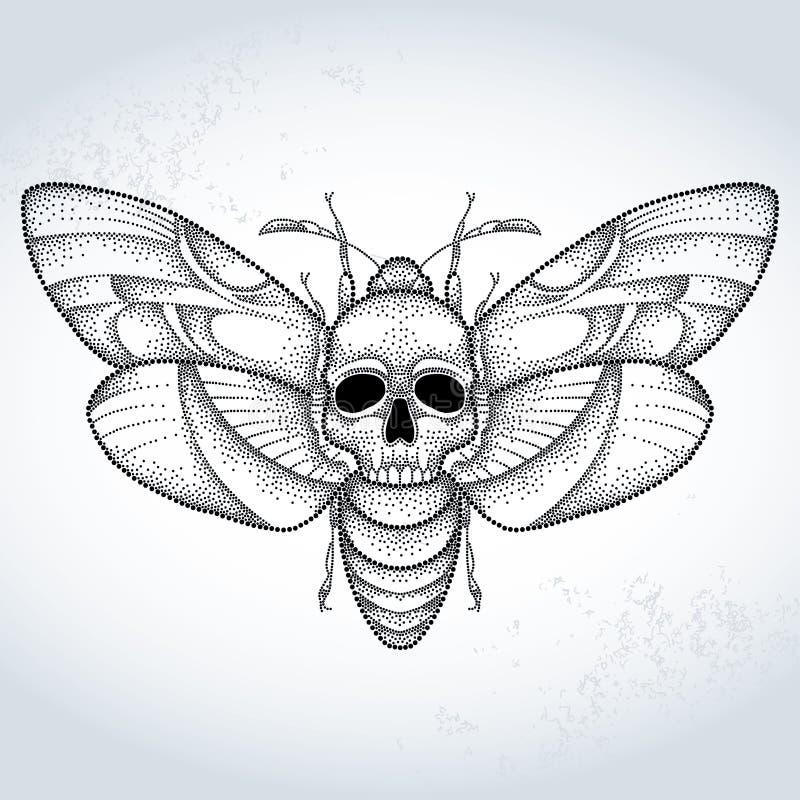 Döds mal för hök för huvud eller Acherontiaatropos i prickig stil på den texturerade bakgrunden vektor illustrationer