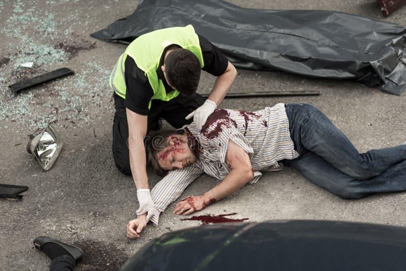 Dödsolycka på vägen royaltyfri foto
