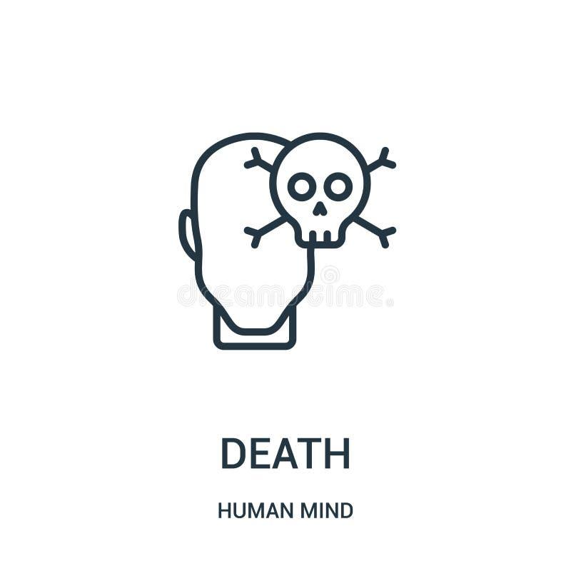 dödsymbolsvektor från samling för mänsklig mening Tunn linje illustration för vektor för dödöversiktssymbol Linjärt symbol för br stock illustrationer
