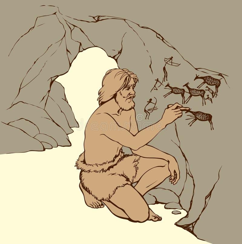 dölja vektor för orm för jaktmazebild Den primitiva mannen drar på stenväggen av grottan royaltyfri illustrationer