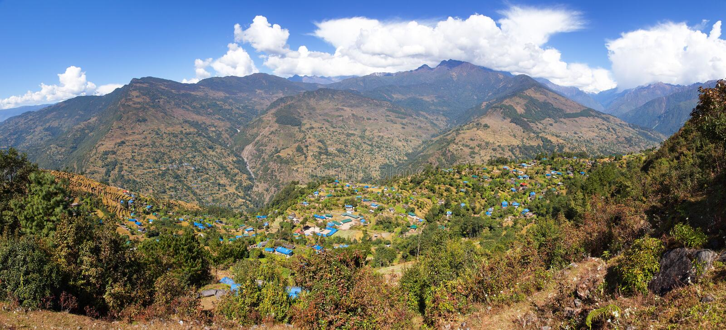 Dörfer Gudel und des Pfropfens, Nepal-Himalaja stockfoto