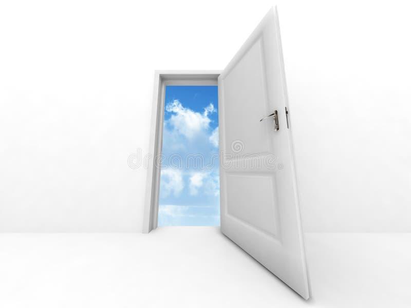 dörr öppnad sky till royaltyfri illustrationer