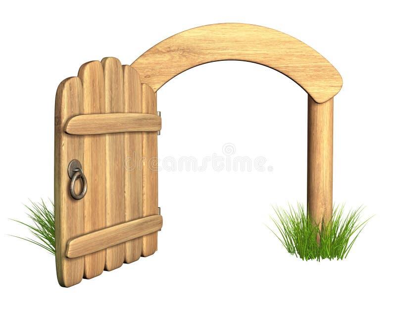 dörr öppnat trä stock illustrationer