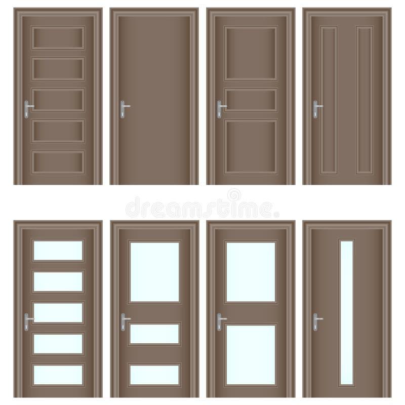 Dörr en uppsättning av realistiska bruna dörrar Ingångsdörrar med exponeringsglas vektor illustrationer