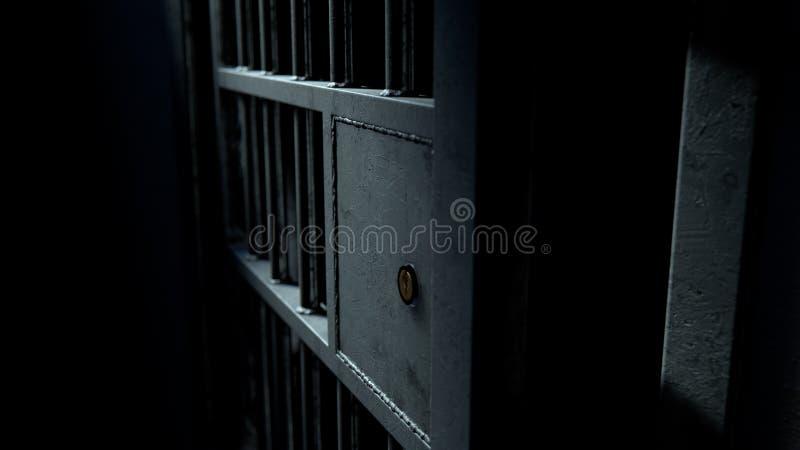Dörr för arrestcell och svetsade järnstänger stock illustrationer