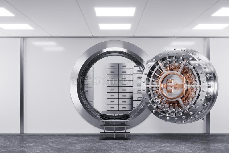 Dörr för bankvalv i lokalbanken det isolerade begreppet 3d framför säkerhet vit 3d stock illustrationer
