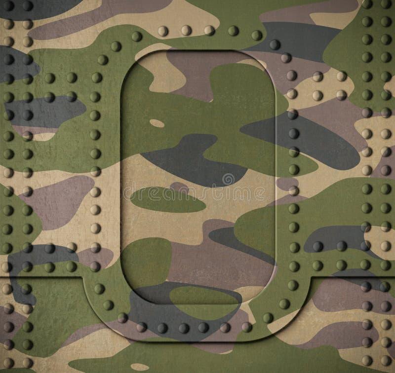 Dörr för harnesk för armékamouflagemetall med illustrationen för nitbakgrund 3d stock illustrationer