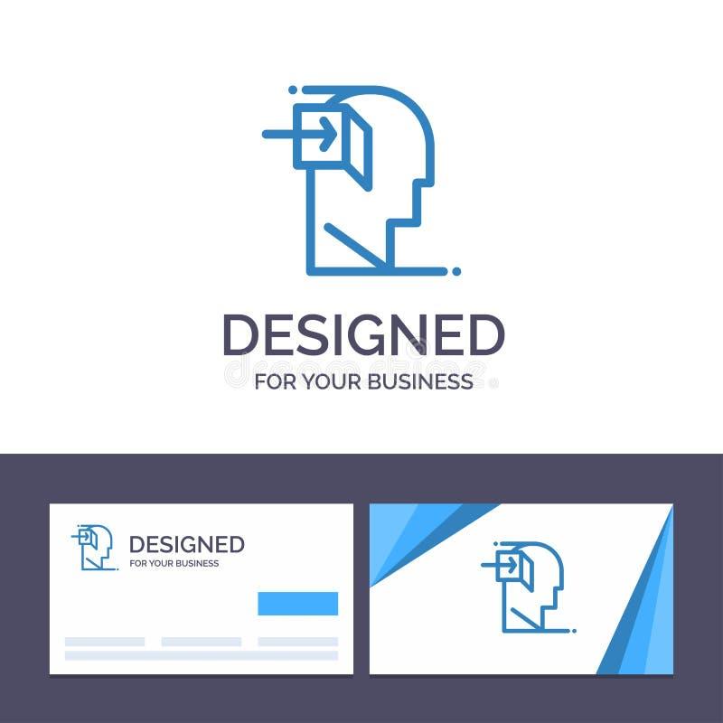 Dörr för idérik mall för affärskort och logo, mänskligt som är inre, mening, sinnad vektorillustration vektor illustrationer