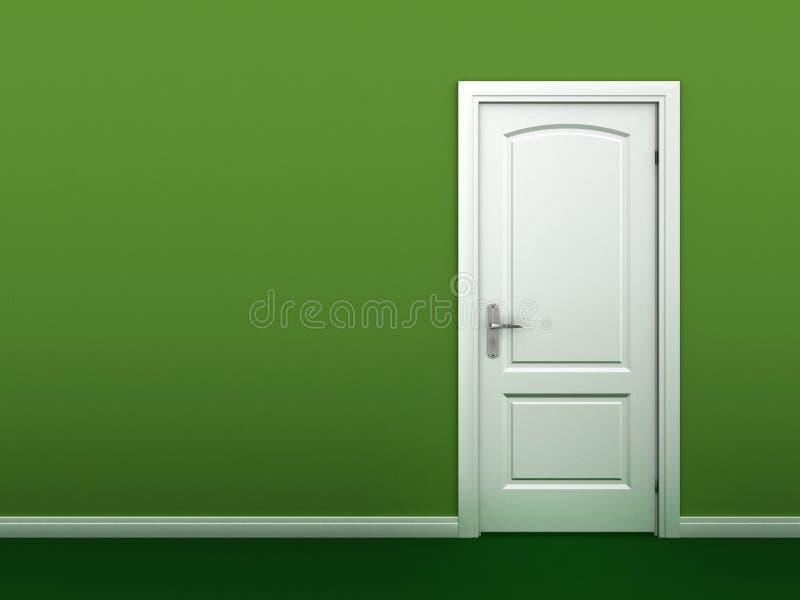 Dörr i den gröna väggen stock illustrationer