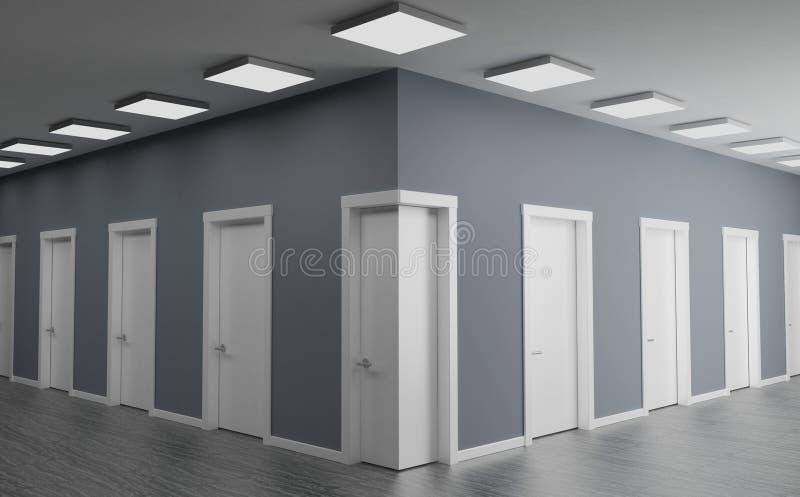 Dörr i hörnet av väggen stock illustrationer