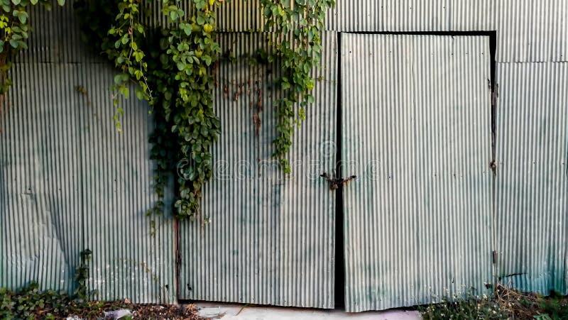 Dörr, ingång, framdel eller bakgård, garage, material arkivbilder