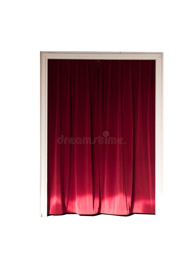 Dörr med en röd gardin royaltyfri foto