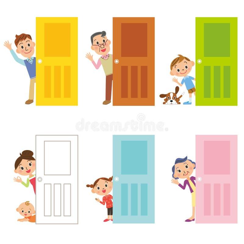 Dörr och familj royaltyfri illustrationer
