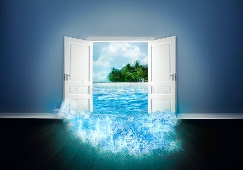 Dörr som är öppen till stranden royaltyfri illustrationer