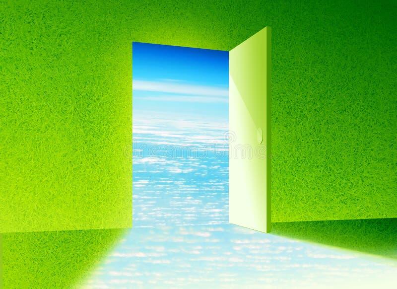 dörr som är ny till världen stock illustrationer