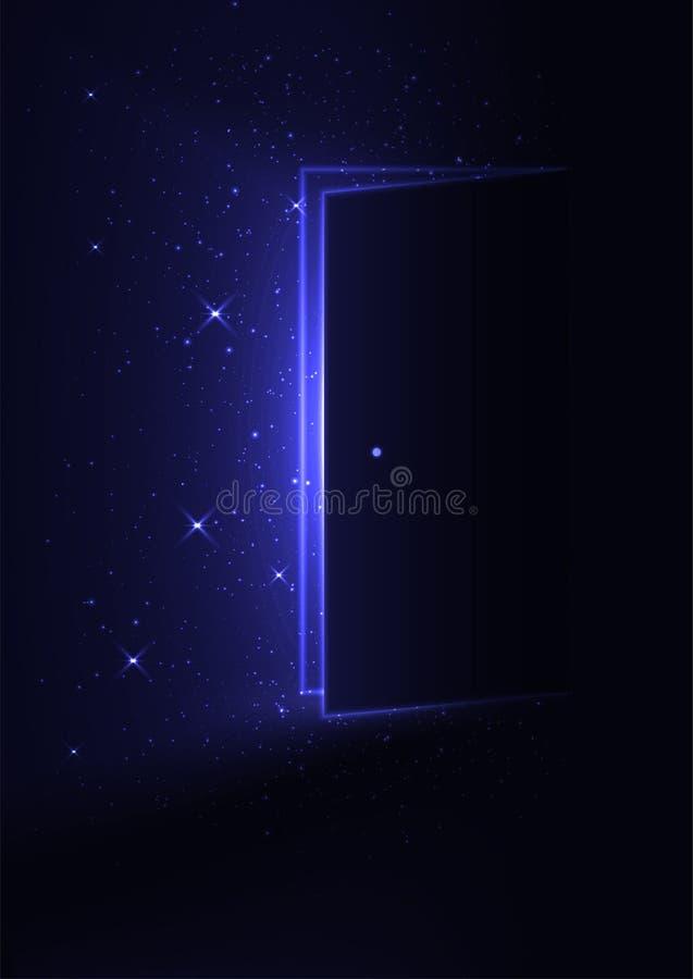 Dörr till det magiska rummet stock illustrationer