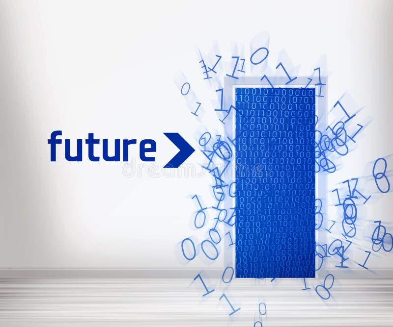Dörr till framtid stock illustrationer